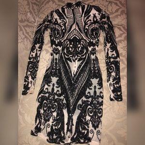 Mesh sequin evening dress